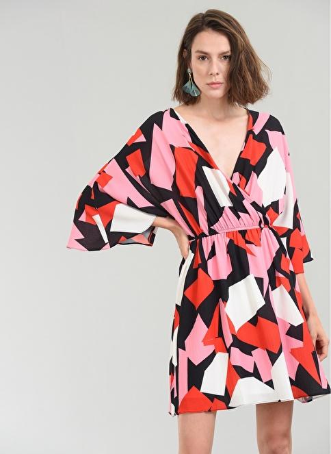 People By Fabrika Sırtı Bağlamalı Desenli Elbise Pembe